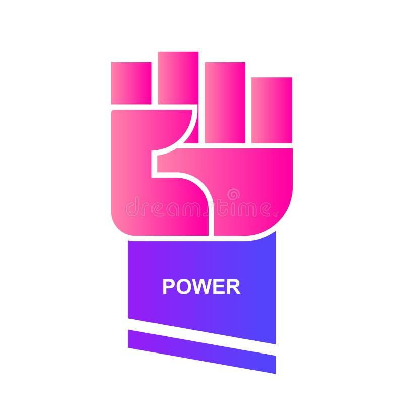 Mão no logotipo do punho em cores frendy Sinal para o poder e a força ilustração royalty free