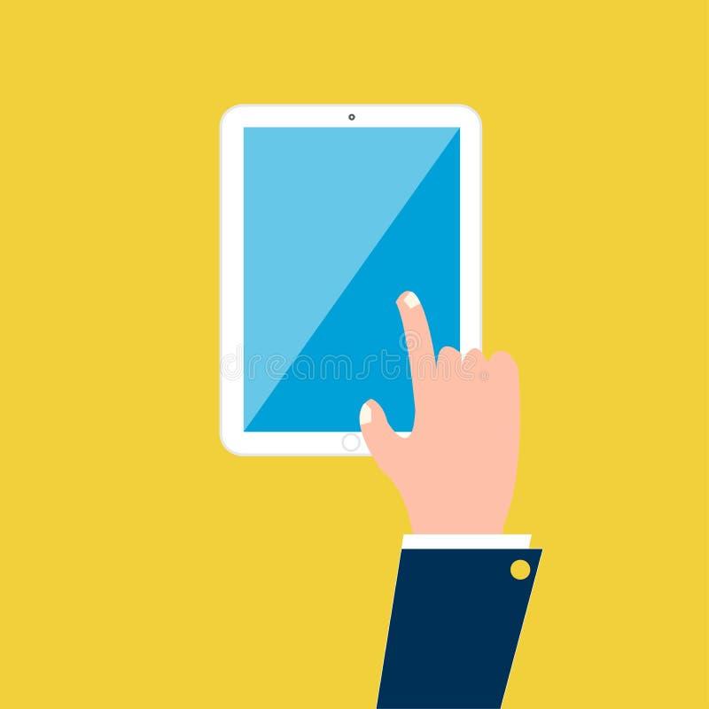 Mão no móbil da tabuleta ilustração royalty free