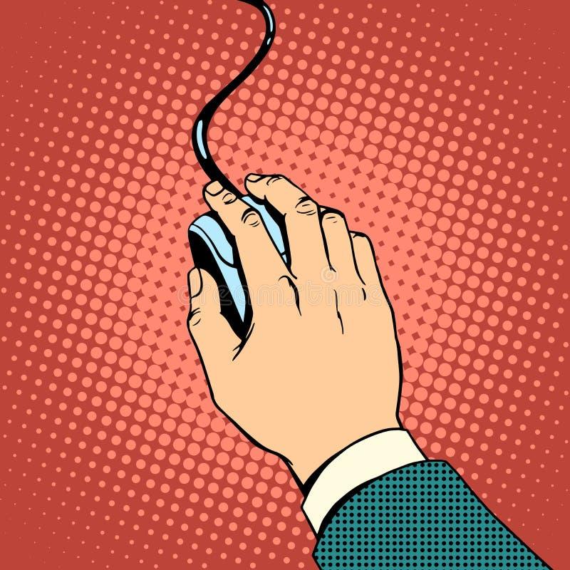 Mão no rato do computador ilustração do vetor