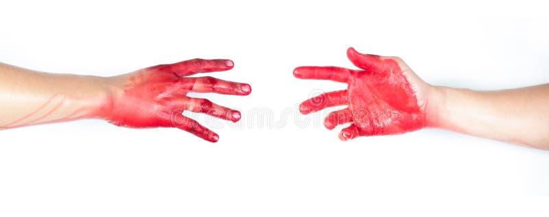 Mão no sangue em um fundo branco foto de stock