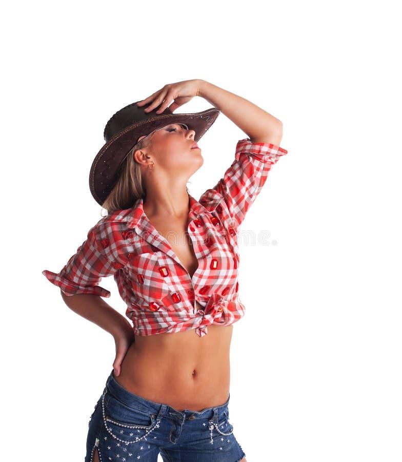Mão nova 'sexy' da tomada do cowgirl no chapéu isolado imagem de stock royalty free