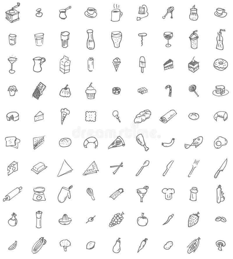 Mão noventa ícones tirados do alimento e do kitchenware ilustração do vetor