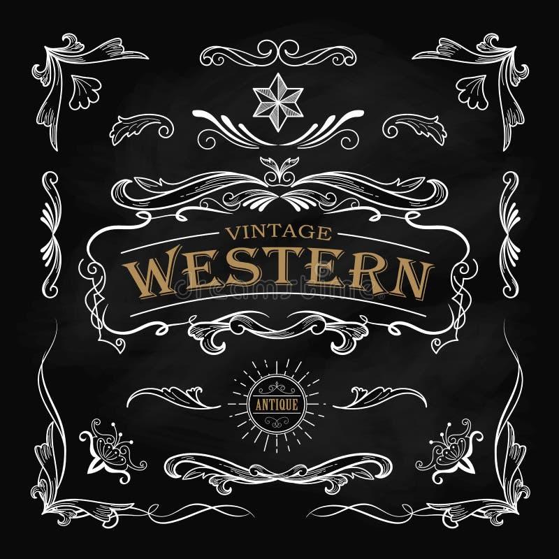 Mão ocidental vintage tirado do quadro-negro da etiqueta do quadro dos elementos ilustração do vetor