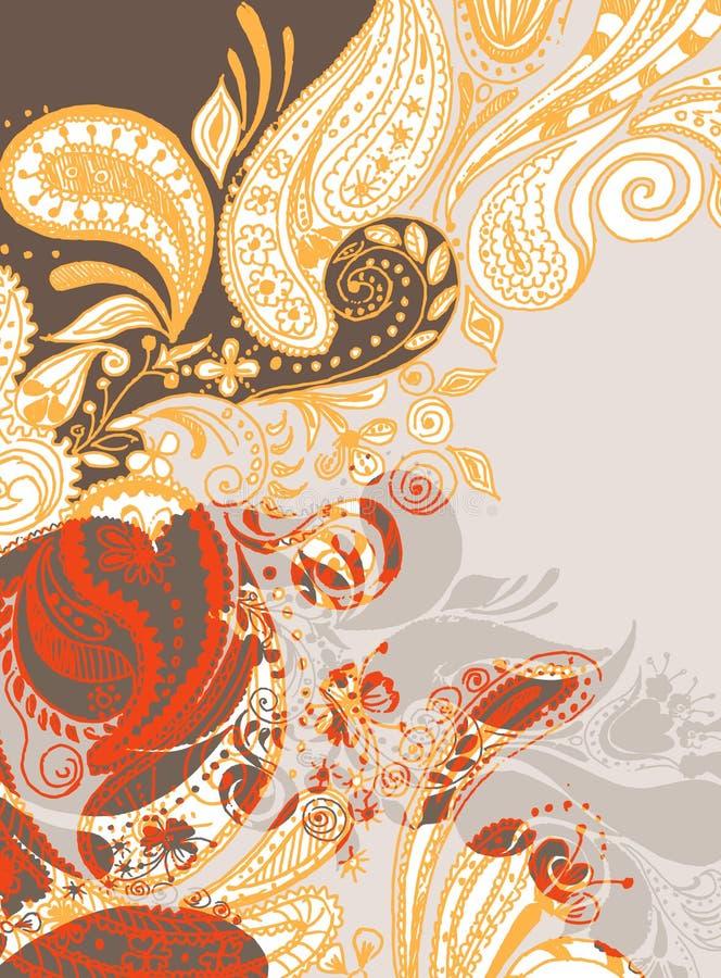 Mão oriental fundo desenhado 2 ilustração do vetor