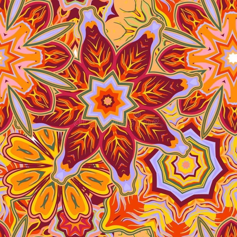 Mão original fundo floral tirado do vetor abstrato Teste padrão sem emenda ilustração stock