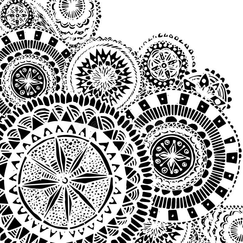 Mão ornamentado preto e branco garatujas tiradas com ilustração do vetor
