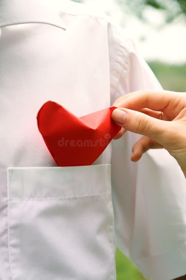 A mão pôr o coração fotografia de stock royalty free