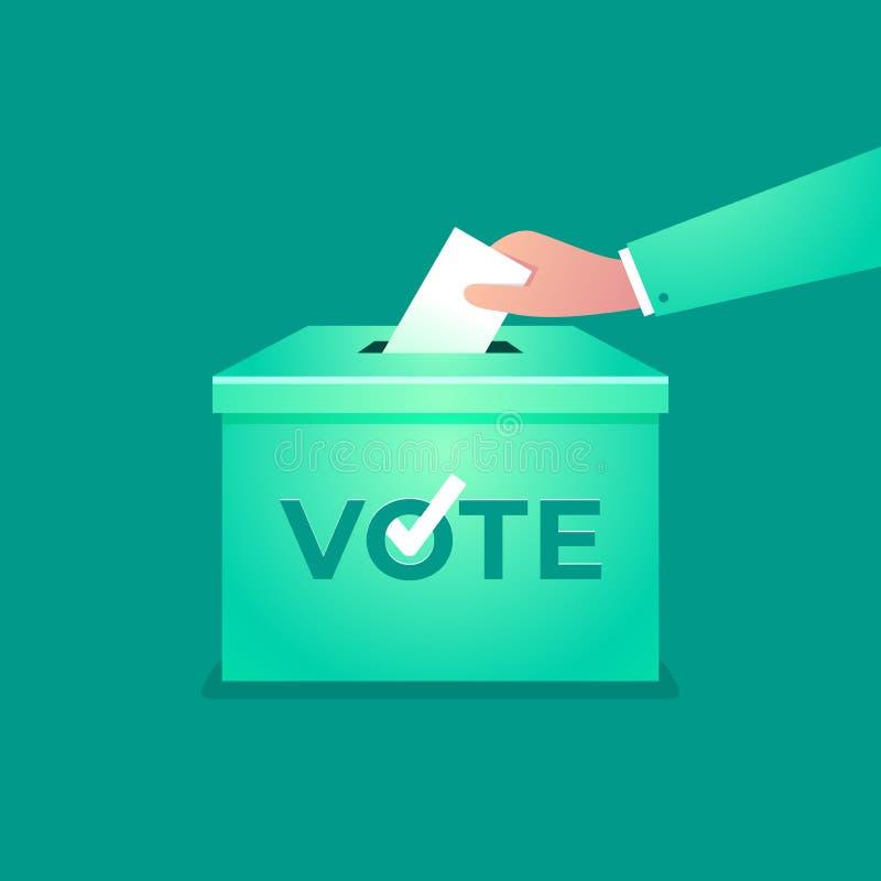 A mão põe o boletim do voto na caixa do voto Conceito da eleição ilustração stock