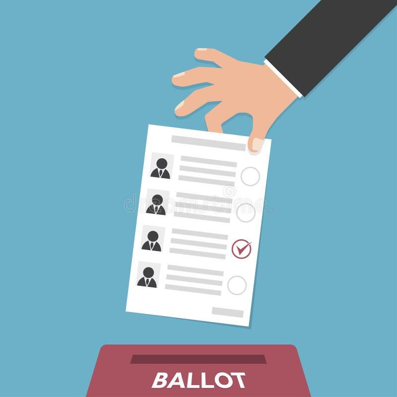A mão põe o boletim do voto na caixa do voto em um projeto liso ilustração stock