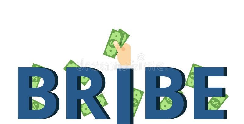 A mão põe o subôrno Ilustração do conceito da corrupção com inscrição ilustração stock