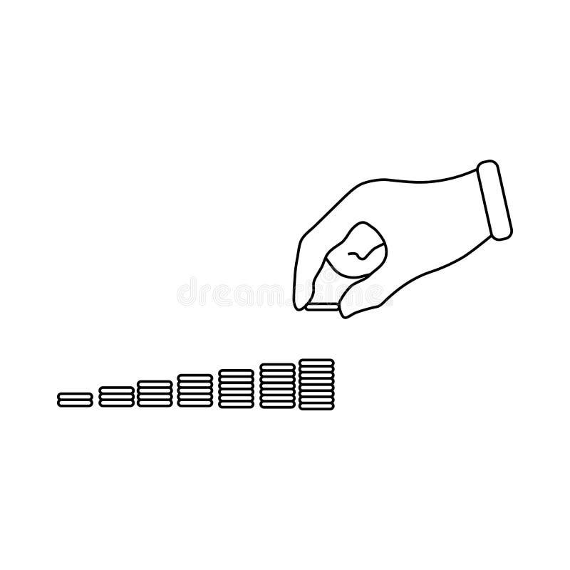 A mão pôs moedas à pilha de ícone das moedas ilustração do vetor