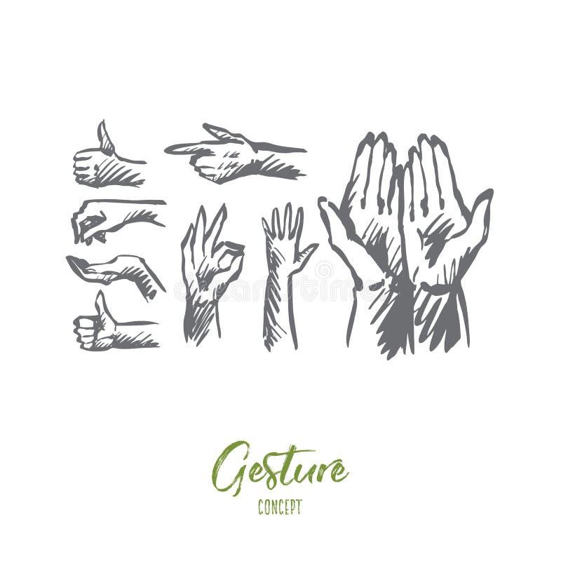 Mão, palma, ser humano, dedo, conceito do gesto Vetor isolado tirado mão ilustração royalty free