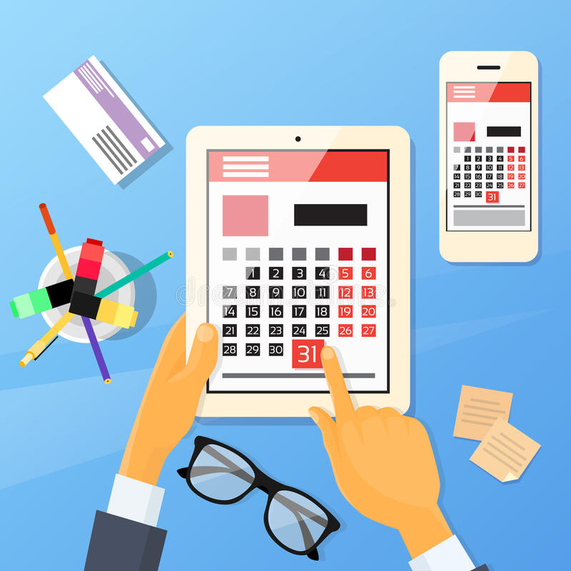 Mão Pen Tablet Computer Digital Device do calendário ilustração royalty free