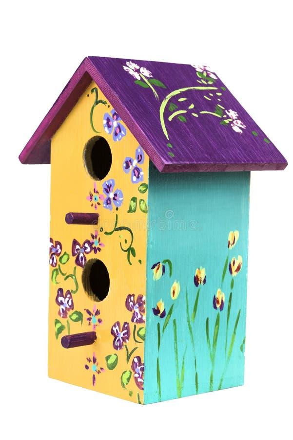 A mão pintou o Birdhouse de madeira 2 foto de stock