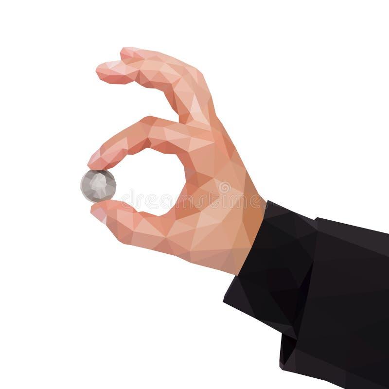 A mão poligonal do ` s do homem guarda entre dois dedos de um quarto E.U. d ilustração stock