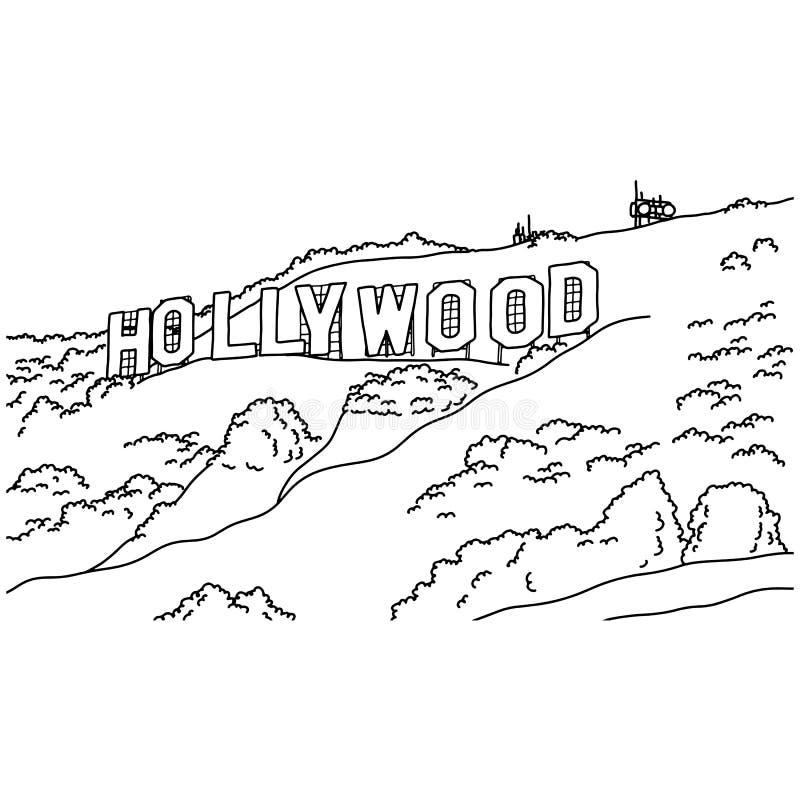 Mão popular da garatuja do esboço da ilustração do vetor do sinal de Hollywood da inscrição tirada com as linhas pretas isoladas  ilustração stock