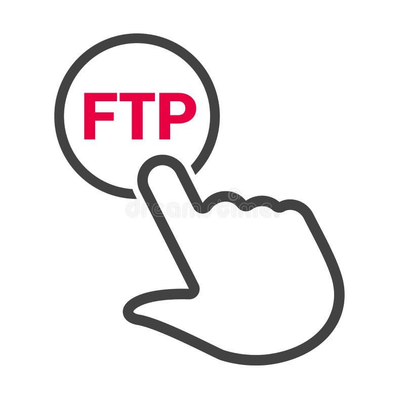 A mão pressiona o botão com ` do ftp do ` do texto ilustração royalty free