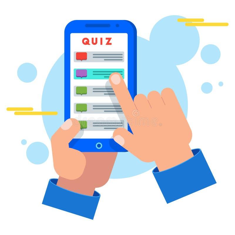 A mão pressiona o botão com respostas interrogar perguntas ilustração royalty free