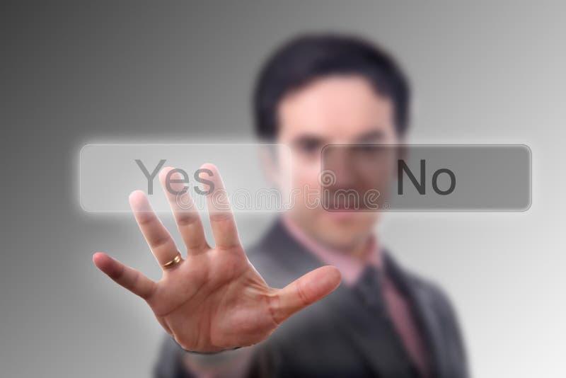 A mão pressiona a tecla imagens de stock royalty free