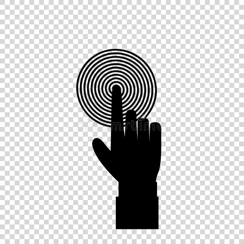 Mão preta com o indicador que empurra o alvo espiral do alvo ou que pressiona um botão ilustração stock