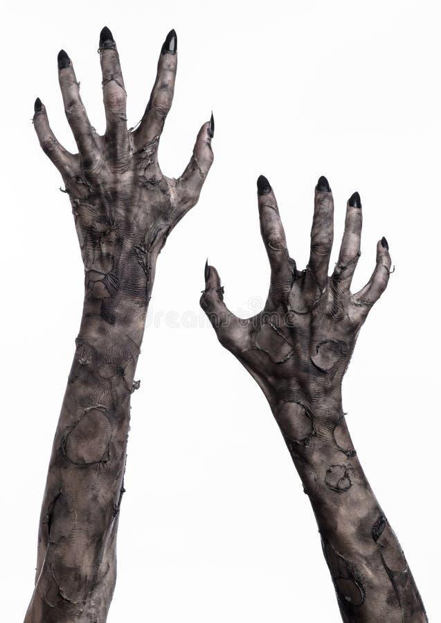 Mão preta da morte, o passeio absolutamente, tema do zombi, tema do Dia das Bruxas, mãos do zombi, fundo branco, mãos da mamã foto de stock
