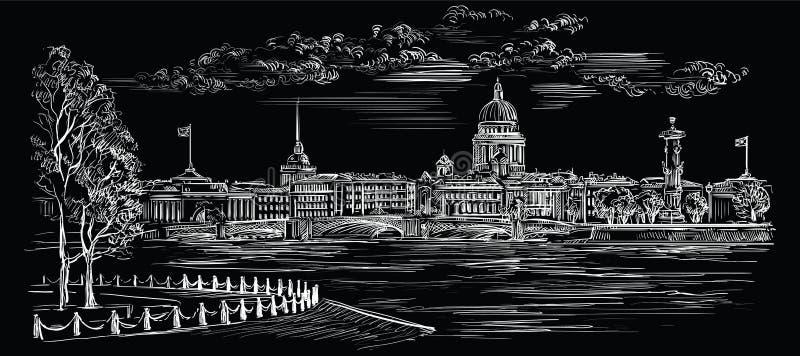 Mão preta do vetor que tira St Petersburg 8 ilustração stock