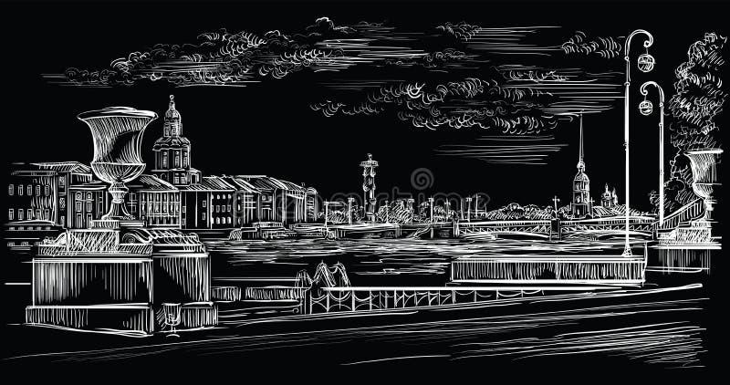 Mão preta do vetor que tira St Petersburg 10 ilustração royalty free