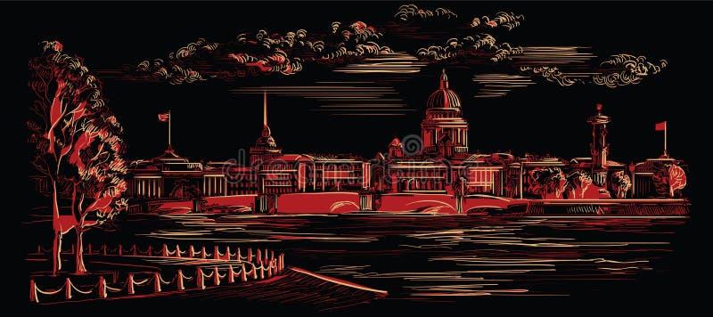 Mão preta e vermelha do vetor que tira St Petersburg 8 ilustração stock