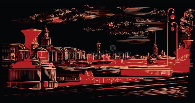 Mão preta e vermelha do vetor que tira St Petersburg 10 ilustração do vetor