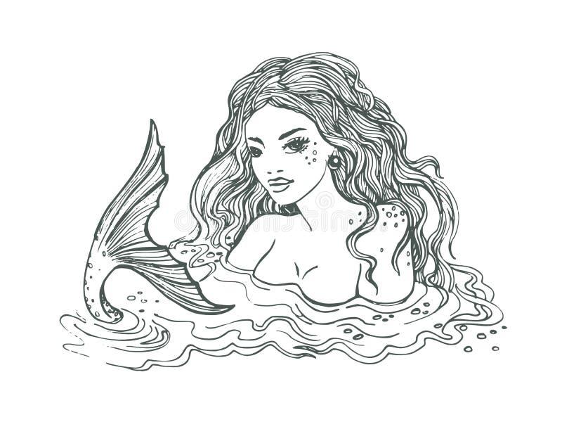 Mão preto e branco sereia tirada, no fundo branco, ilustração de linho do vetor ilustração stock