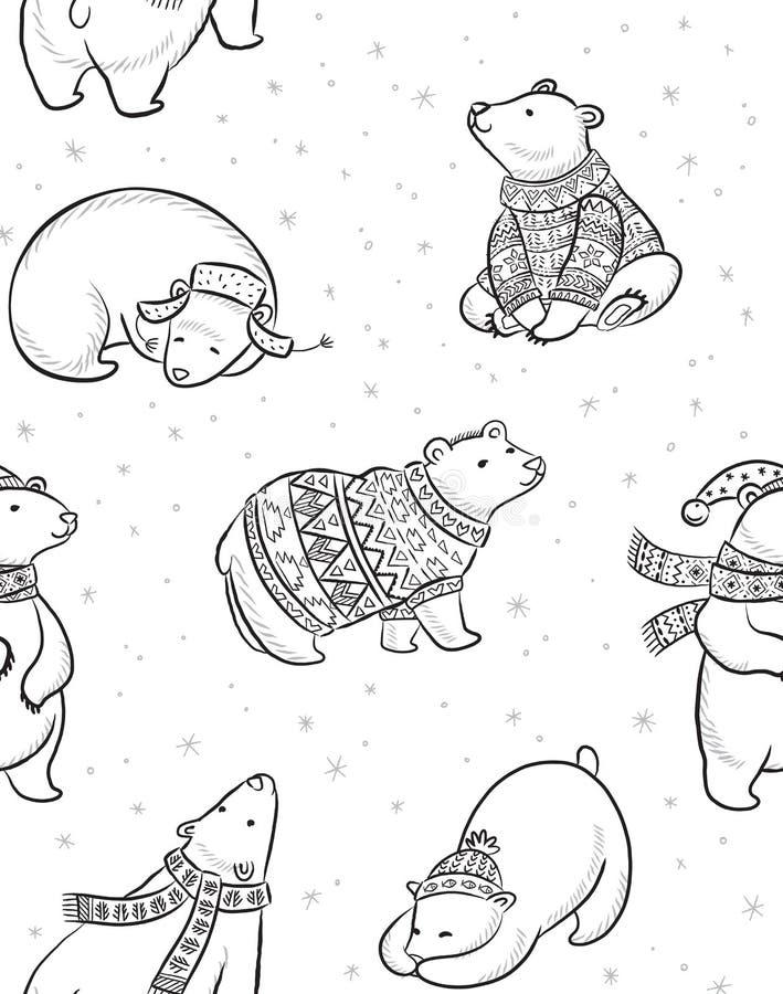 Mão preto e branco teste padrão sem emenda tirado dos ursos polares ilustração royalty free