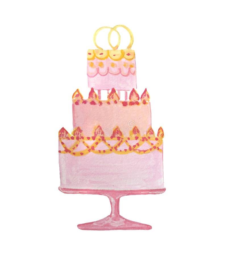 Mão que afoga o bolo cor-de-rosa do casamento da aquarela imagem de stock
