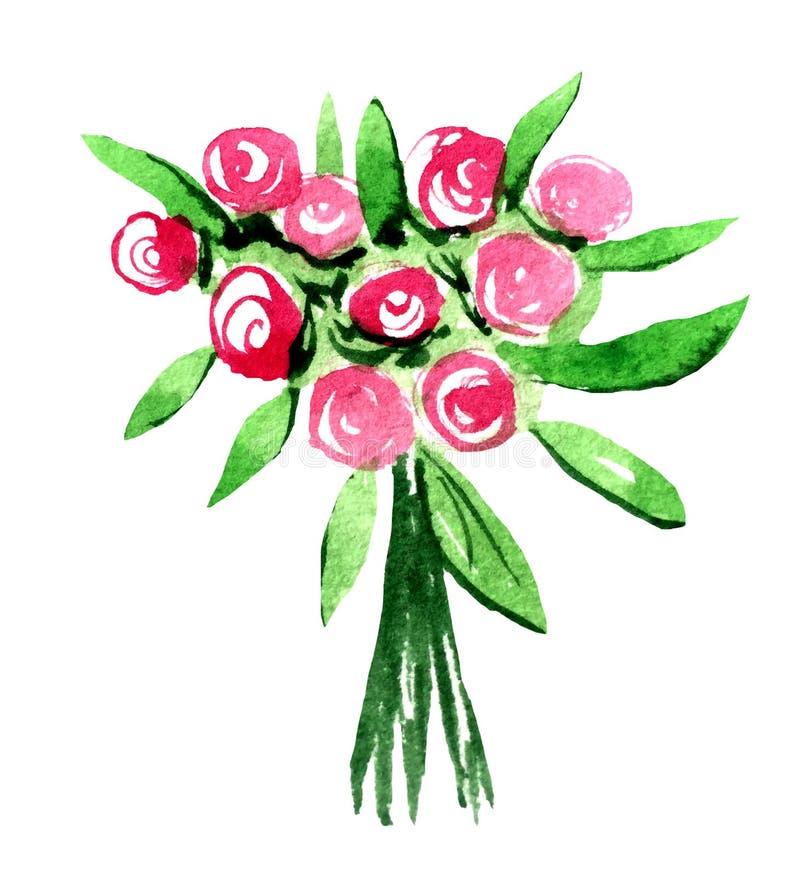 Mão que afoga o ramalhete do casamento da aquarela de rosas vermelhas e cor-de-rosa ilustração stock