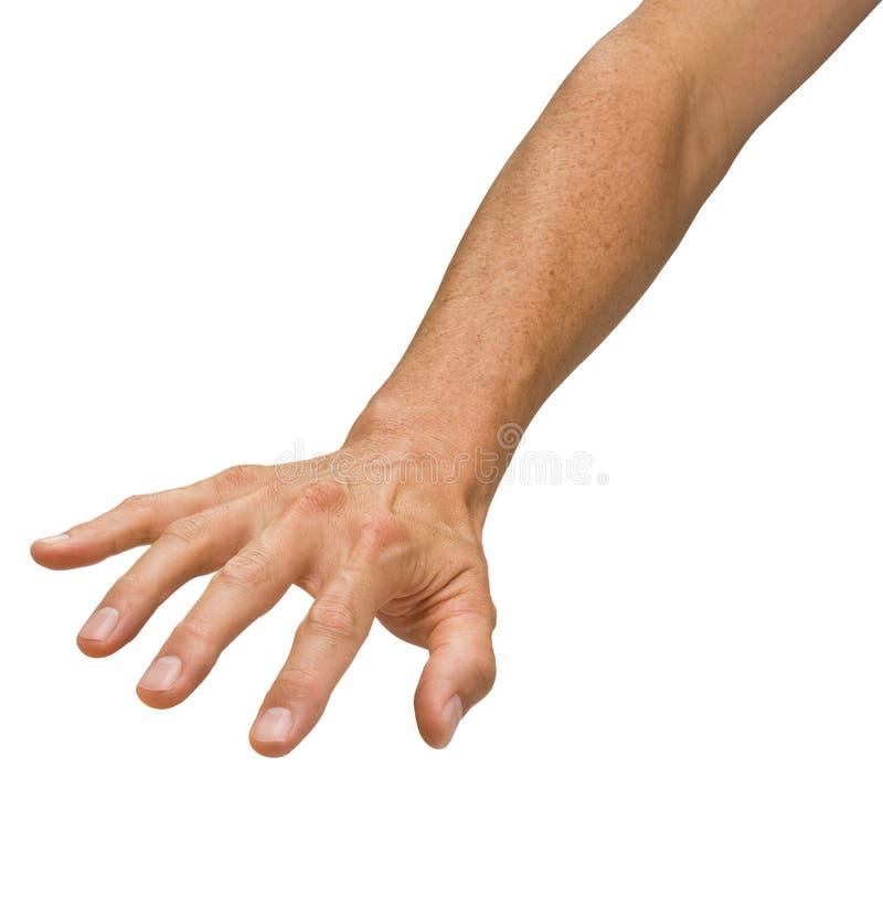 Mão que alcanga para baixo fotografia de stock