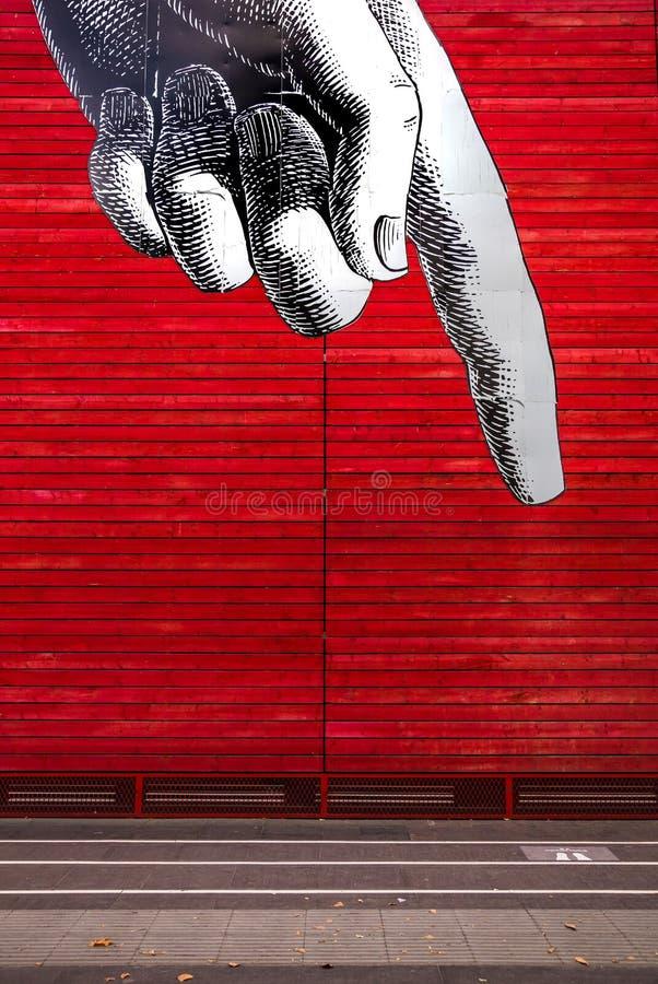 Mão que aponta - arte gráfica da rua - Londres fotografia de stock royalty free