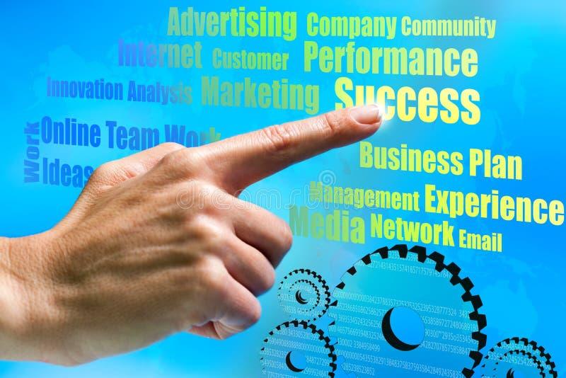 Mão que aponta em idéias do negócio. imagens de stock