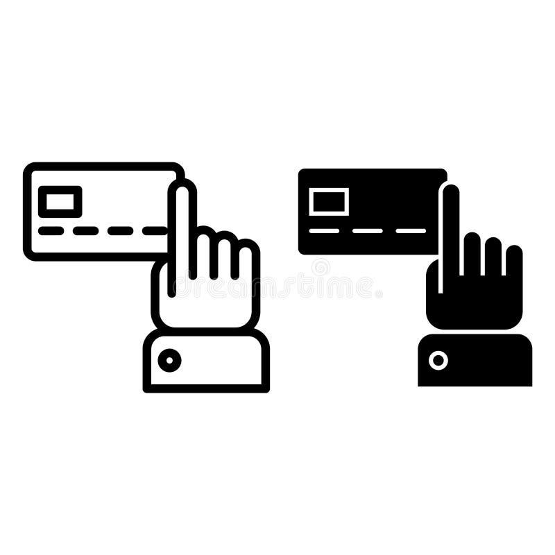 Mão que aponta na linha do cartão de crédito e no ícone do glyph Ilustração plástica do vetor do cartão isolada no branco Indicad ilustração stock