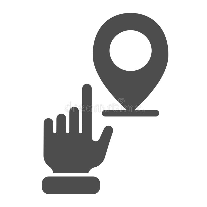 Mão que aponta o ícone contínuo do lugar M?o com a ilustra??o do vetor do pino do mapa isolada no branco Estilo do glyph da naveg ilustração royalty free