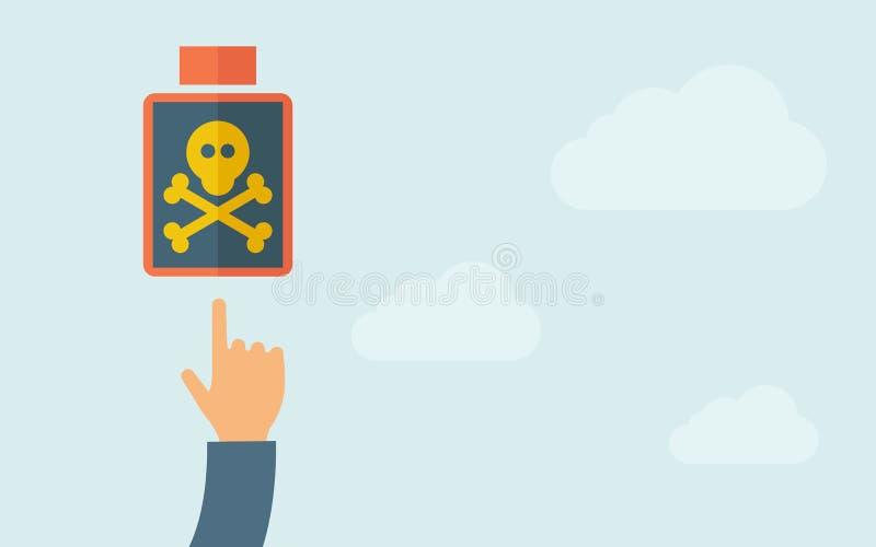 Mão que aponta a um ícone venenoso da garrafa ilustração do vetor