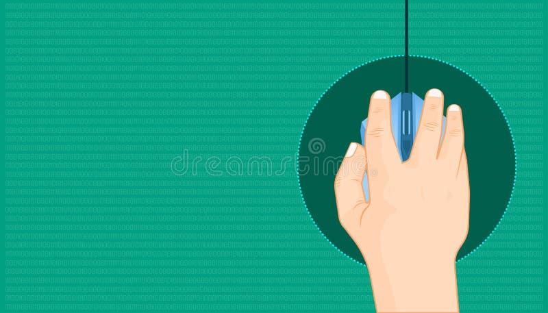 Mão que clica um rato para o projeto para selecionar para escolher a picareta optar a tudo que você quer Fundo bonito da cor Ilus ilustração stock