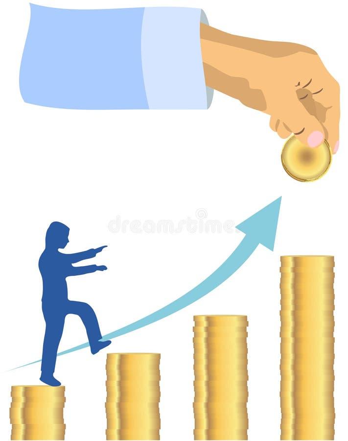 Mão que coloca a moeda dourada para inventar a escadaria da pilha com intensificação do executivo empresarial e a seta que mostra ilustração do vetor
