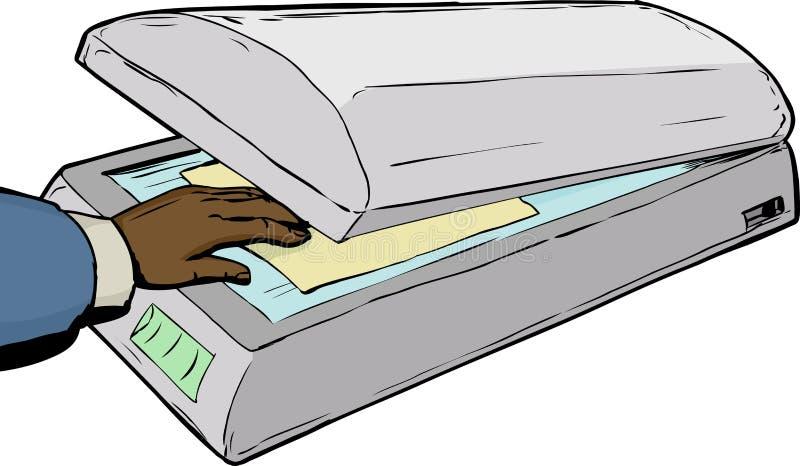 Mão que coloca o papel no varredor ilustração do vetor