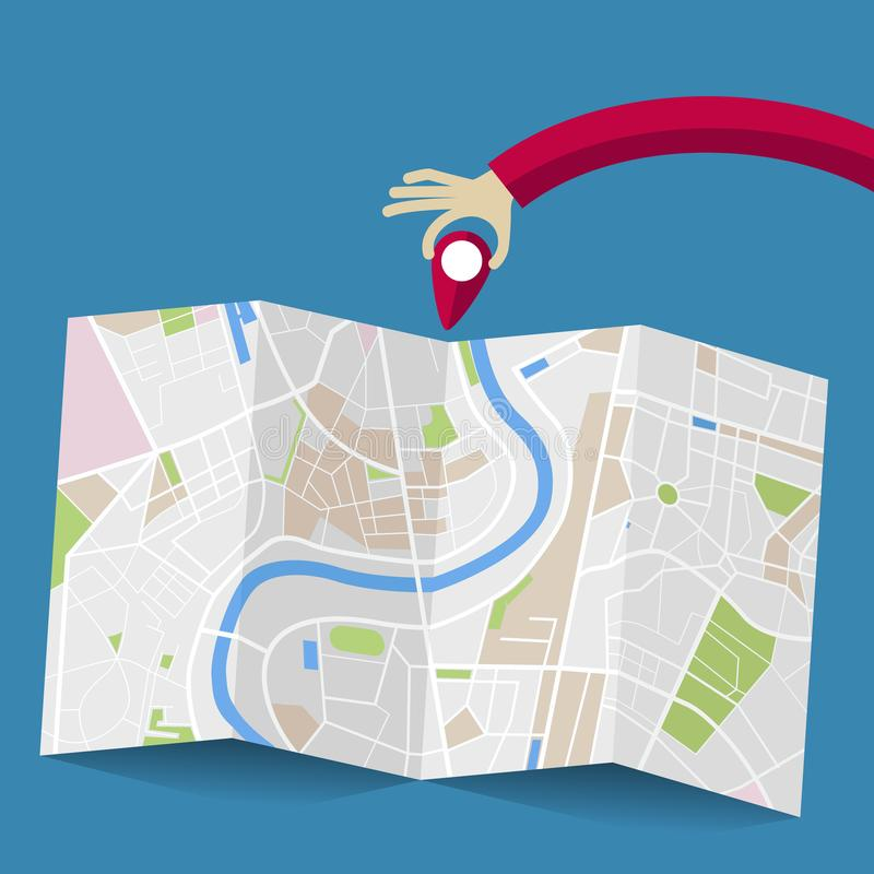 Mão que coloca um pino em um mapa ilustração stock