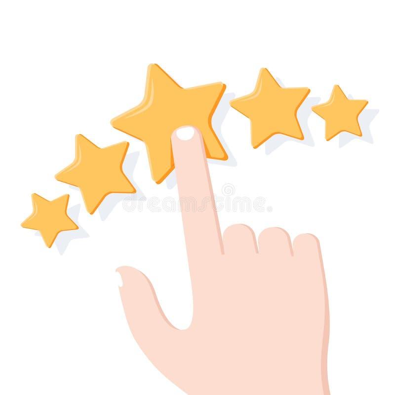 Mão que dá a avaliação da estrela Avaliação do feedback, do consumidor ou de cliente, revisão, avaliação, nível de satisfação ilustração do vetor