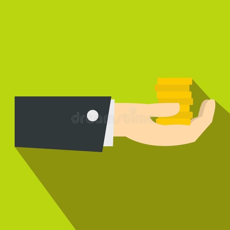 Mão que dá o ícone do dinheiro, estilo liso ilustração do vetor