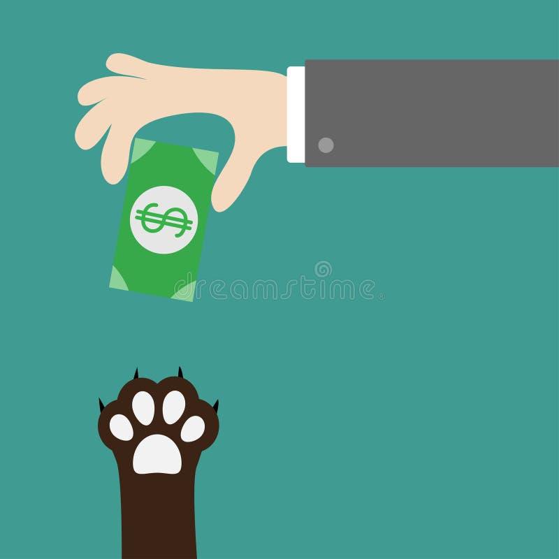 Mão que dá o dinheiro do papel moeda com sinal de dólar Cópia da pata do gato do cão que toma o presente Adote, doe, ajude, ame o ilustração stock