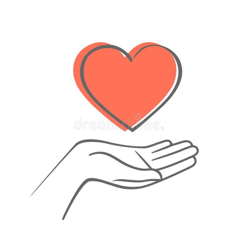 Mão que dá o símbolo do amor Ícone do vetor da tração da mão com coração ilustração royalty free