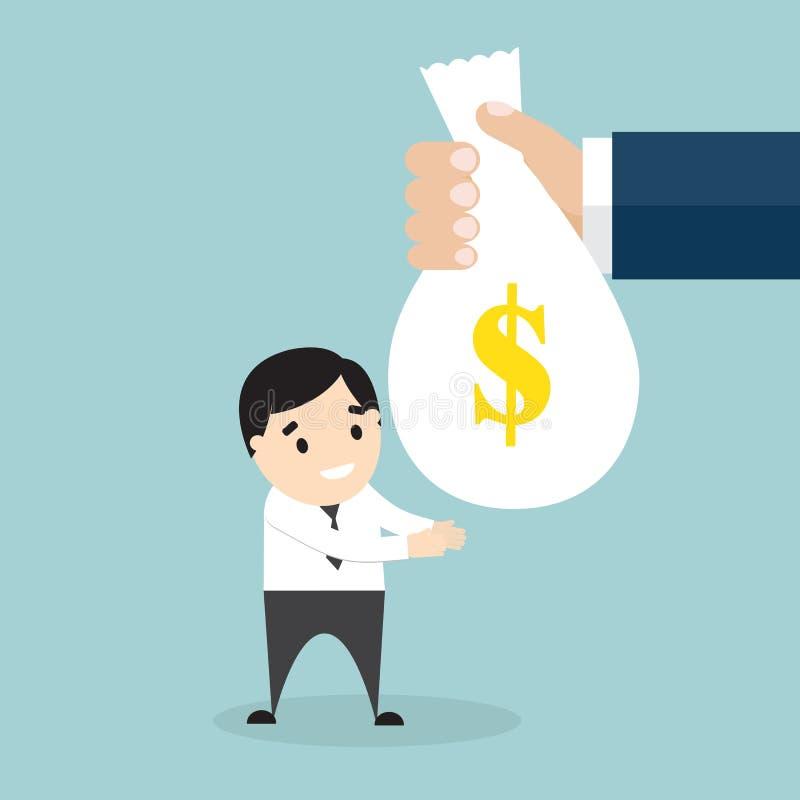 A mão que dá o saco com dinheiro a um homem de negócios ilustração do vetor