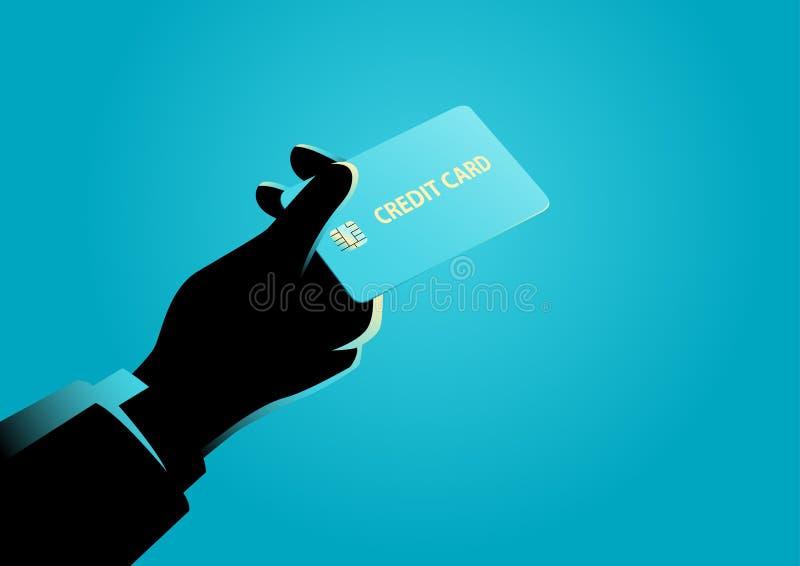 Mão que dá um cartão de crédito ilustração do vetor