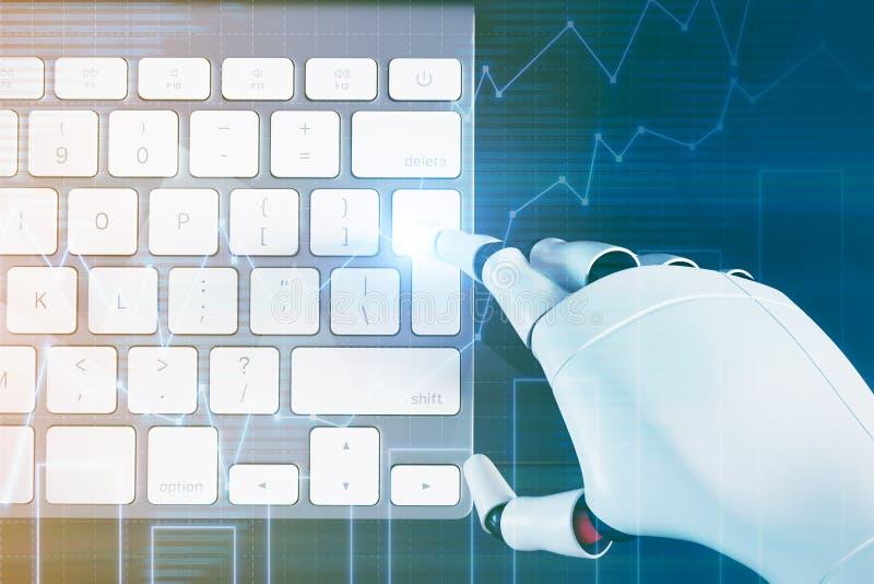 Mão que datilografa em um teclado de computador, gráficos do robô ilustração stock